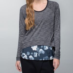 Lululemon Floral Layered Long Sleeve Grey Tee